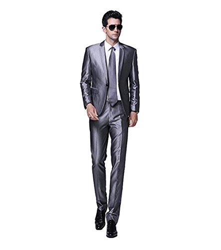 (Men's Single-Breasted 2-Piece Suits Slim Fit Suit for Men Blazer Jacket & Pants Silver)