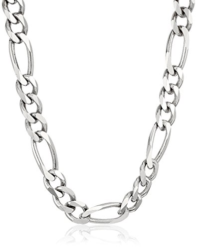 Mens Sterling Silver Italian Solid Figaro Link-Chain Necklace