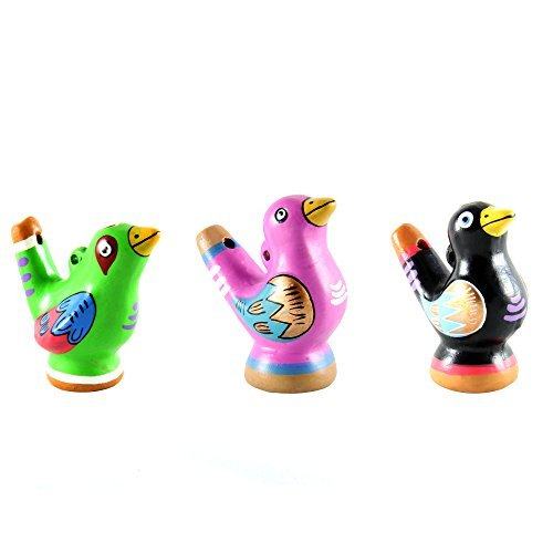 Beautiful Chirping Ceramic Ocarina Whistle Bird - Clay Fired and Hand-Painted in Peru (3-Pack Variety Colors)