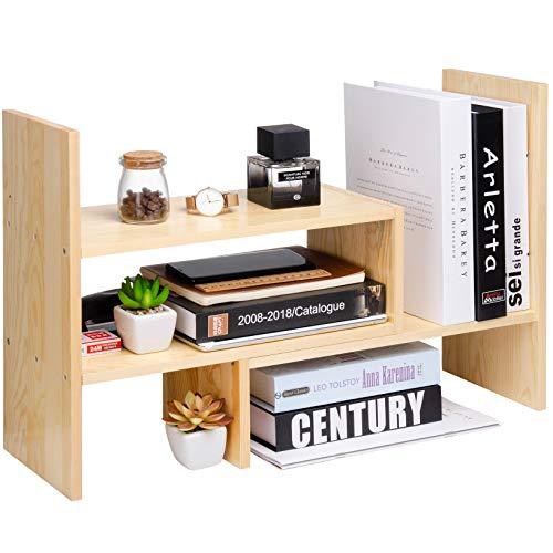 - Desktop Organizer Office Storage Rack Adjustable Natural Wood Display Shelf Stand Rack Wood Caddy Desk Organizer Set Office Storage Expandable Tabletop