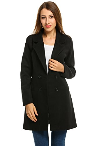 HOTOUCH Women Overcoat Jacket Double Breasted Wool Blende...