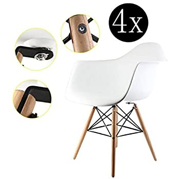 ZUMEI 4er Set Esszimmerstühle Mit Armen, Mitte Des Jahrhunderts Moderne  Stühle Mit Natürlichen Holzbeinen,