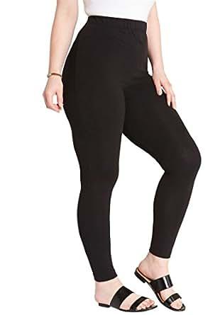Roamans Women's Plus Size Ankle-Length Stretch Legging Black,S