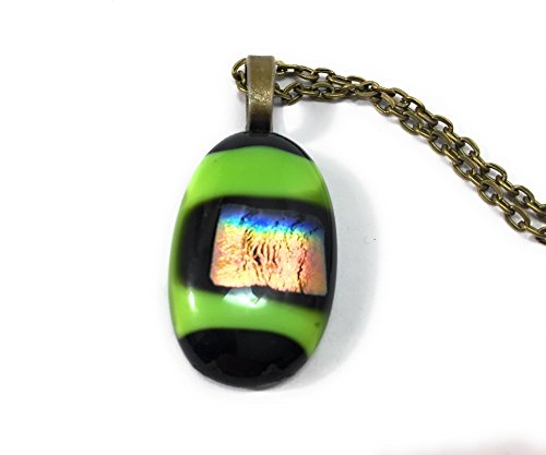 Green and Black Fused Glass Pendant (Black Fused Glass Pendant)
