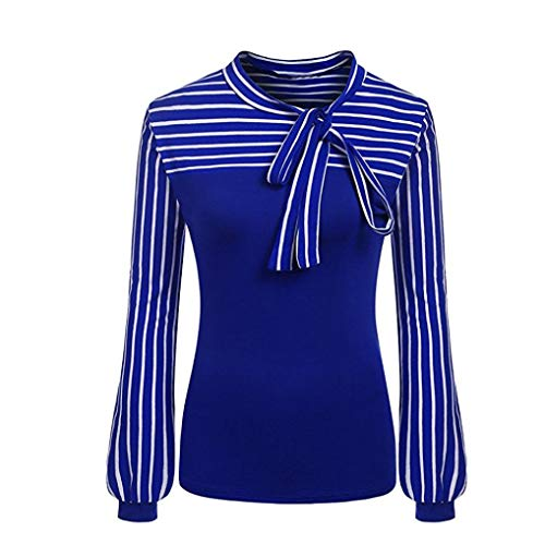 iDWZA Women Lady Fashion Tie-Bow Neck Striped Patchwork T Shirts Blouses Tops (M,Blue) -