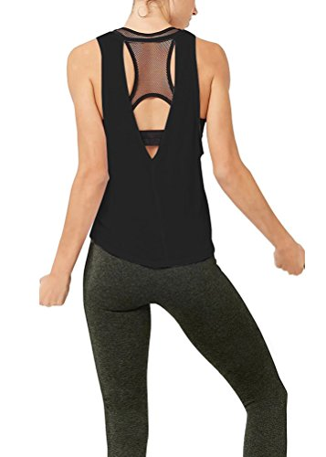 Mippo Women's Casual Sleeveless Tunics Tops Super Soft Lightweight Knit Junior Backless Loose Fit Shirts Black XL - Scoop Back Top