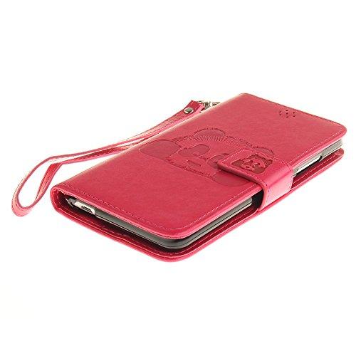 JIALUN-Personality teléfono shell Funda Samsung Galaxy Note 3, color sólido 3D Panda lindo grabado en relieve cubierta de la caja de cuero con ranuras para tarjetas Lanyand para Samsung Galaxy Note 3  10