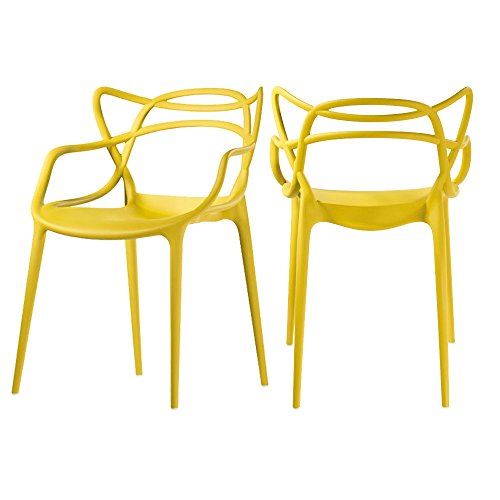 Mod Made Mid Century Modern Molded Plastic Loop Chair (Set of 2), Yellow by Mod Made