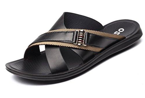 YCMDM degli uomini dei sandali di svago Spiaggia dei pistoni dei pattini impermeabili scarpe morbide Casual , black , 41