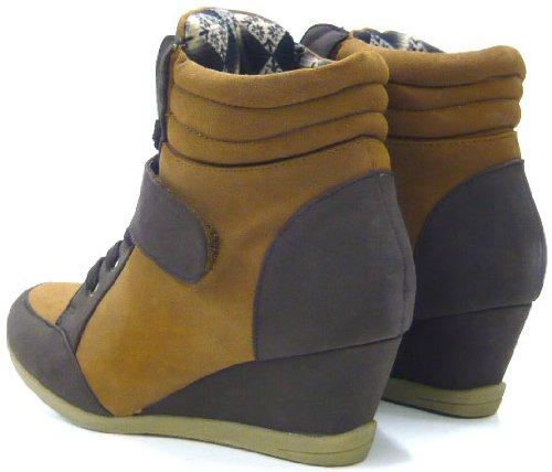 Schuh-City Sexy Damen Sneaker Keil Absatz Schuh camel/braun 36