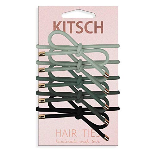 Kitsch 5 Piece Premium Knotted Hair Ties Set, Fashion Ponytail Holders for Women, Hair Ties for Women, Bow Hair Ties (Black/Gray)
