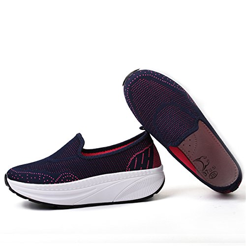 Fashion Wedges Womens Lightweight Blue Loafers Sports Walking Beeagle Platform Rocking Shoes Sneakers Mesh TFpqxSCw