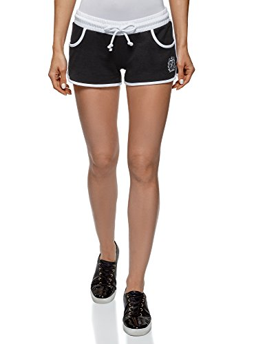 Cotton Shorts with Embroidery, Black, 0 ()