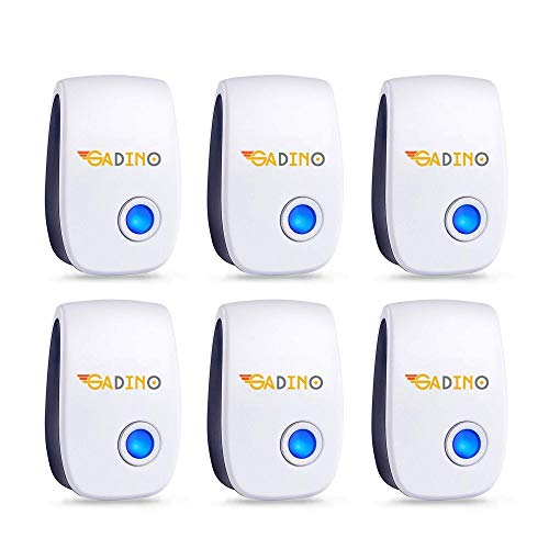 GADINO Ultrasonic Pest Repellent 6 Packs - Indoor Plug, Electronic and Ultrasound Repeller - Insects, Mosquitoes, Mice, Spiders, Ants, Rats, Roaches, Bugs Control - Safe for Human