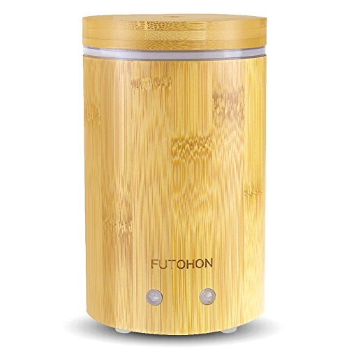 Bamboo Diffuser - FUTOHON Bamboo Diffuser Cool Mist Humidifier 150 ml, Auto Shut-off Aroma Oil Diffuser, 7 LED Lights Control,Up To 7H Use,BPA Free