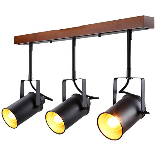 LEONLITE Track Light with Wood Ceiling Base, 3-in-1 Spotlight, Retro Industrial Style, 3 Bulbs Included, for Dining Rooms, Kitchens, Living Rooms, Restaurants, Pubs, 5 Years Warranty by LEONLITE (Image #7)