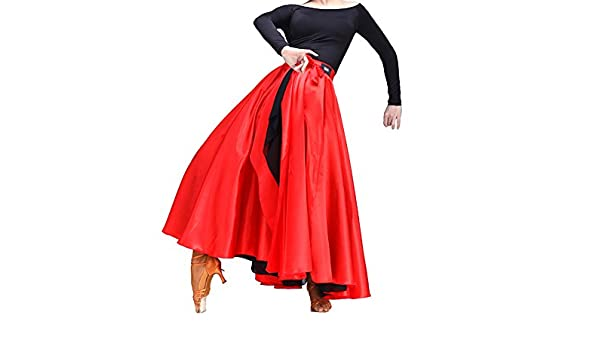 a3d1785f2011 Amazon.com: SHOLIND Womens Latin Dance Two Layer Satin Dress Bandage  Spanish Flamenco Costume Skirt Red: Clothing