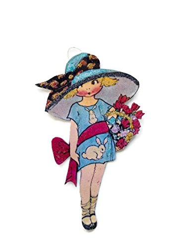 Easter Tree Ornament Decoration Fancy Hat Bunny Girl Art Deco Handmade Holiday Gift