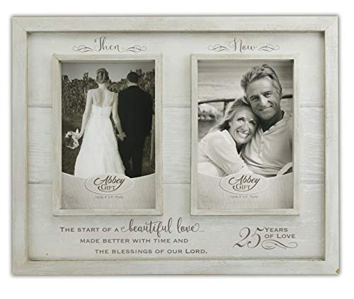Abbey Gift Then & Now 25Th Anniversary Wood Frame, 12
