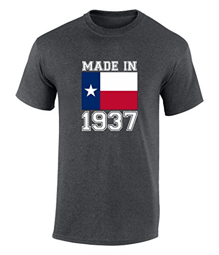 Happy 80th Birthday Gift T-Shirt With Made In Texas 1937 Graphic Print Dark Heather Extra - Highlands Tx Arlington