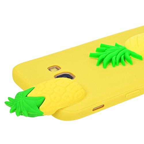Funda Samsung A5 2017, WE LOVE CASE Ultra Fina Slim Suave Funda Samsung A5 2017 Silicona Candy Cartoon Cubierta Clear Cover Original Flexible Gel Anti Rasguños Choque con Diseño Protectora Resistente  Piña Amarilla