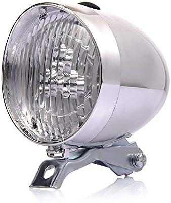 Faros de Bicicleta Retro, 3 Luces Delanteras de Bicicleta LED Luz antiniebla Faro Vintage Niebla lámpara de Seguridad Nocturna con Soporte (White): Amazon.es: Deportes y aire libre