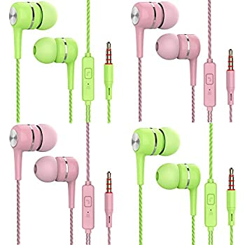 Earbuds,Earphones,Pasuwisma in-Ear Headphones Noise Isolating,Compatible with iPhone,iPod,iPad,MP3 Players,Samsung Galaxy,Nokia,HTC,etc 4pack Candy1