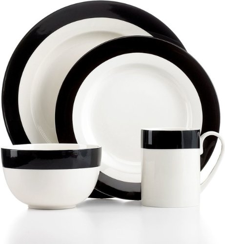 Martha Stewart Collection Classic Band Black 4-Piece Place Setting (Dinnerware Martha Stewart)