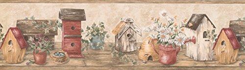 Wooden Cream Red Bird Houses Wallpaper Border 4101 HRB