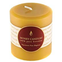 """Honey Candles Beeswax Candle, Round Pillar 3"""" x 3"""""""
