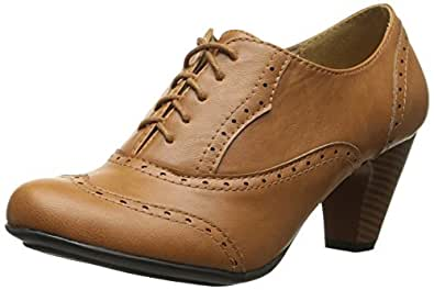 Refresh BH50 Women Leatherette Lace up Oxford Chunky Heel Bootie - Tan (Size: 5.5)