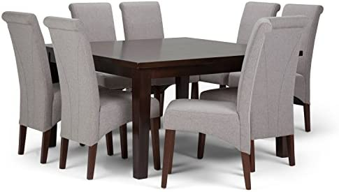 Simpli Home AXCDS9-AVL-CLG Avalon Contemporary 9 Pc Dining Set with 6 Upholstered Dining Chairs in Cloud Grey Linen Look Fabric and 54 inch Wide Table