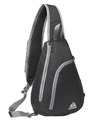 Veenajo Sling Chest Shoulder Backpacks Bags CrossBody Triangle Packs Rucksack Multipurpose Sport Daypack for Cycling Walking Dog Hiking (Black)