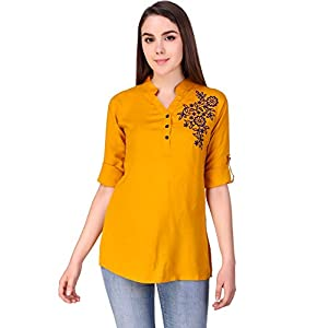 Elyraa Casual Women Girls Tunics Embroidered Cotton Tops