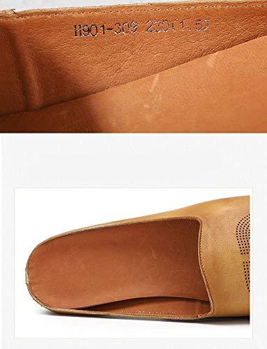 Retro Zapatillas Fondo Cabeza Cuadrada Sandalias Antideslizante Verano Camel Personalidad Genuina Plano De Mujer Respirable Piel zwzrXf