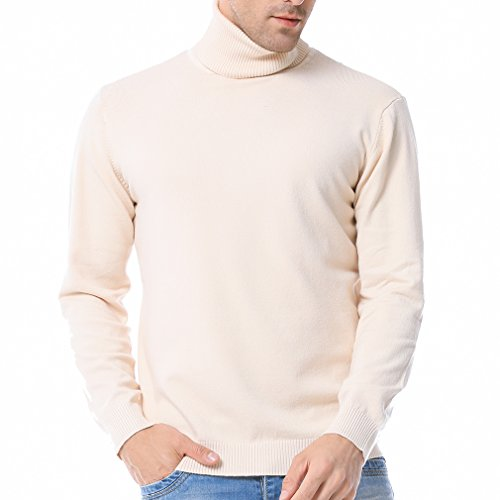 Just No Logo Men's Basic Turtleneck Pullover Solid Sweater(Cream,XL)
