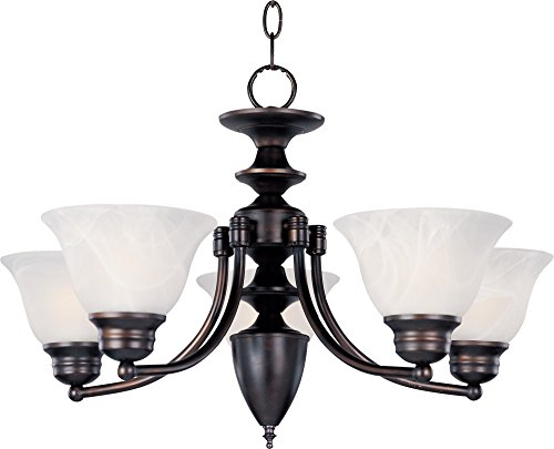 Malaga Finish Chandeliers (Maxim 2699MROI Malaga 5-Light Chandelier, Oil Rubbed Bronze Finish, Marble Glass, MB Incandescent Incandescent Bulb , 100W Max., Dry Safety Rating, Standard Dimmable, Opal Glass Shade Material, 10350 Rated Lumens)