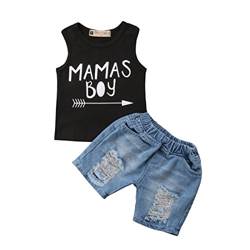 - Baby Boy Sleeveless Vest Top Shirt + Denim Jeans Shorts 2 Pcs Outfit Clothes Set (Black, 3-4Y)