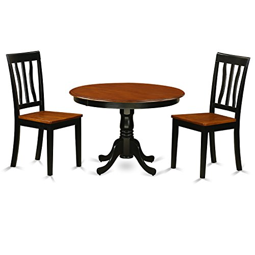 East West Furniture HLAN3-BCH-W 3Piece Hartland Set with One Round 42in Table & Two Dinette Chairs with Wood Seat in a Black & Cherry Finish
