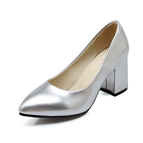 Soild Women's Kitten Silver Shoes Pull Round On Toe WeenFashion Heels Pump q7YwFdXFvn