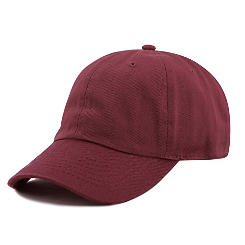 THE HAT DEPOT Unisex Blank Washed Low Profile Cotton and Denim Baseball Cap Hat (Burgundy)