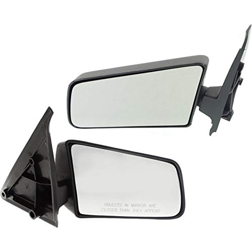 Manual Mirror compatible with Chevy S10 Pickup 82-93/S10 Blazer 83-94 Right and Left Side Manual Folding Non-Heated Standard Type Textured Black