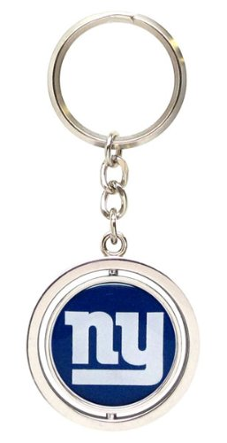 aminco NFL New York Giants Silver Spinning Logo Keychain, Team Color