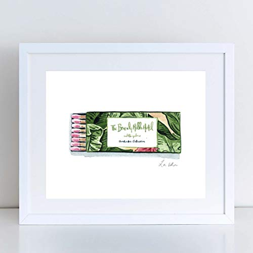 (Beverly Hills Hotel Art Print Watercolor Painting Matchbook Tropical Leaves Hollywood Rodeo Drive Palm Springs Los Angeles California Banana Leaf Cute Pretty Wall Decor)