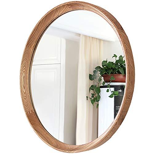 YANZHEN Mirror Wall Mount Retro European Bathroom Bedroom Waterproof No Deformation Dressing Solid Wood, 3 Color 3 Size (Color : Log Color, Size : Diameter 61cm)