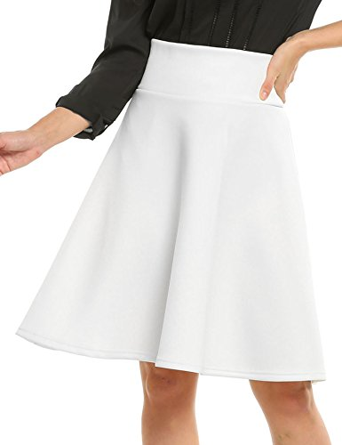 ANGVNS Women Casual High Waist Knee Length Big Hem Pleated Solid Zipper Skirt for Office