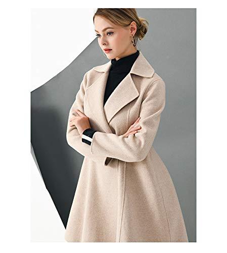 Vintage Vento Donna Giacca In Lana m Boucle Inverno Autunno Da beige E Vioy Maniche Ricamo Coat Lunghe Caldo A Hq0a0Z