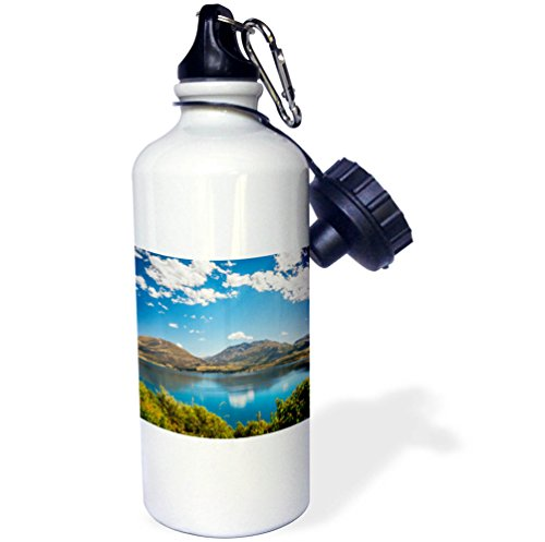 3dRose DanielaPhotography - Landscape, Nature - Lake Wakatipu in summer at Golden Hour - New Zealand, South Island - 21 oz Sports Water Bottle (wb_281980_1) by 3dRose