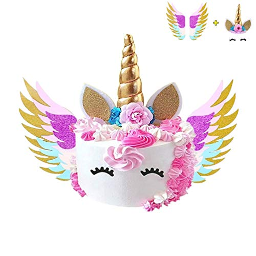 BUSOHA Unicorn Cake Topper Set | Glitter Gold Unicorn Horn Ears Flowers Eyelashes with Unicorn Wings for Cake,Birthday Party, Baby Shower, Wedding Unicorn Party Decoration - Wings Unicorn