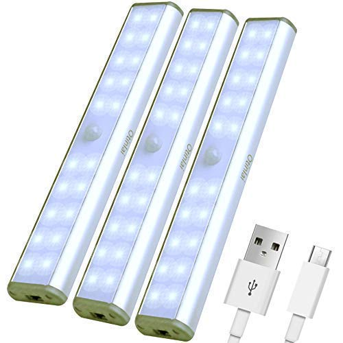 Under Cabinet Lights, 20 LED Motion Sensor Lights, Night Light,Led Battery Lights,Motion Led Light Bar, USB Rechargeable Magnet LED Lights Stick on Anywhere Otinlai (Silver 20 LED 3 Pack)